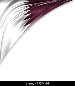 Qatar flag of silk with copyspace for your text or images and white background. - Stock Photo