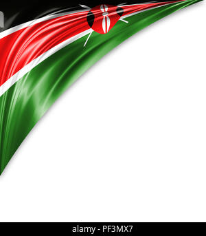Kenya flag of silk with copyspace for your text or images and white background. - Stock Photo