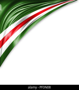 Chechen Republic of Ichkeria flag of silk with copyspace for your text or images and white background. - Stock Photo