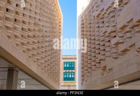 Valletta, Malta - february 5, 2017: The new Parliament Building, designed by Renzo Piano - Stock Photo