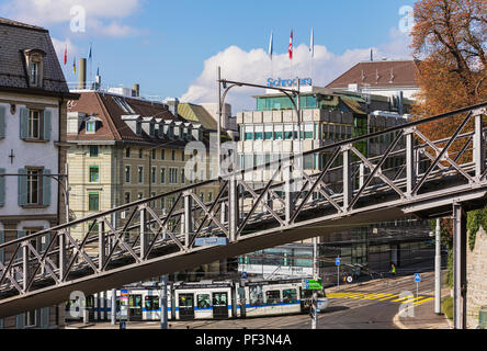 Zurich, Switzerland - September 25, 2017: the Polybahn funicular railway. The Polybahn, also known as the UBS Polybahn, is a funicular railway in the  - Stock Photo