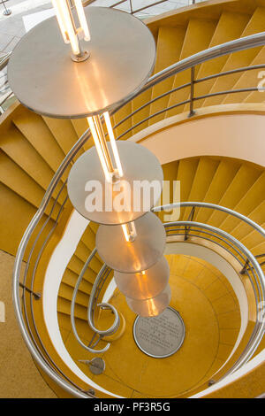Stairs in De La Warr Pavilion - Bexhill On Sea, East Sussex - Stock Photo