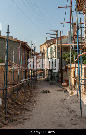 Traditional Turkish houses waiting for restoration and renovation in Eskisehir - Stock Photo
