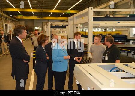 German Chancellor Angela Merkel Visits Saxony NEUKIRCH, GERMANY - AUGUST 16 2018: German Chancellor Angela Merkel and Michael Kretschmer - Stock Photo
