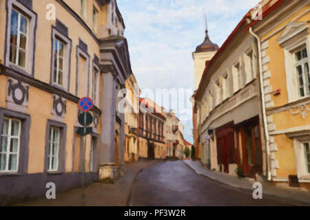 Painting on canvas of empty street in capital of Lithuania - Vilnius - Stock Photo