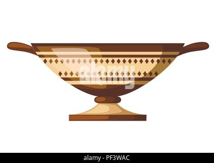 Ancient Greece kylix drinking cup. Ancient wine cup cylix with patterns. Greek pottery icon. Flat vector illustration isolated on white background. - Stock Photo