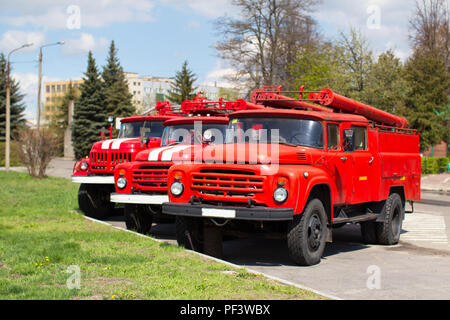 Belarus, Gomel, 25 April 2018. Fire Department. Old Russian fire trucks ZIL - Stock Photo