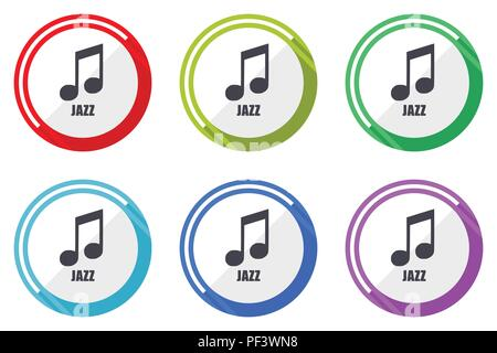 Jazz music editable flat vector icons collection, round circle web buttons, set of colorful computer and smartphone application signs easy to edit - Stock Photo