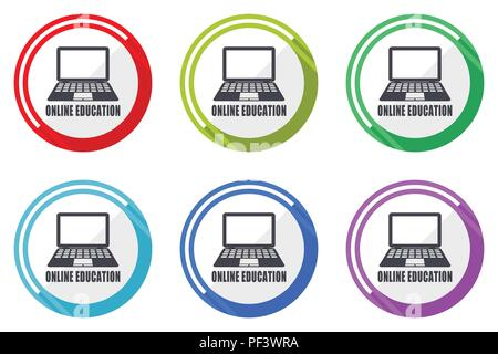 Online education editable flat vector icons collection, round circle web buttons, set of colorful computer and smartphone application signs easy to ed - Stock Photo