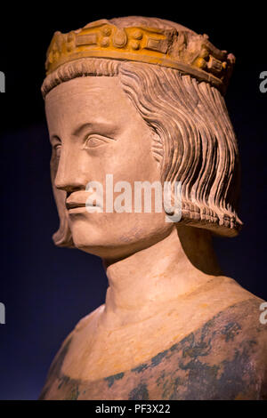 Bust of King Louis IX (1214-1270 AD) - AKA St Louis, a reformer king, on display inside the Conciergerie, Paris, France - Stock Photo
