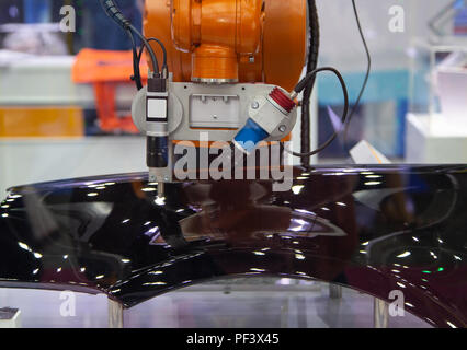 Automation robot arm vision inspect assembly part - Stock Photo