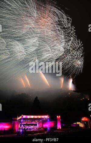 Virgin Money Concert marks the end of the Edinburgh Festival Fringe  fireworks at the Ross bandstand - Stock Photo