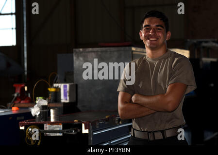U.S. Air Force Airman 1st Class Jimmy Knutson, 20th Equipment Maintenance Squadron tactical aircraft maintainer, stands next to toolboxes in his work center at Shaw Air Force Base, S.C., Aug. 10, 2018. Knutson and other Airmen from across the base received the opportunity to share their ideas of what it means to serve in the Air Force. (U.S. Air Force photo by Senior Airman Kathryn R.C. Reaves)