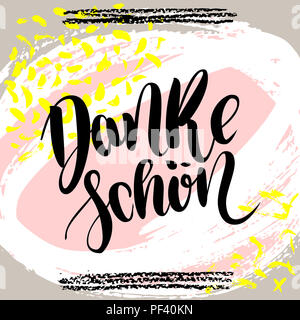 Danke schoen. Thank you in german.  hand drawn brush lettering on colorful background. Motivational quote for postcard, social media, ready to use. Ab - Stock Photo