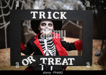 A boy in a Halloween costume of skeleton with hat and smoking holds a frame 'Trick or treat' - Stock Photo