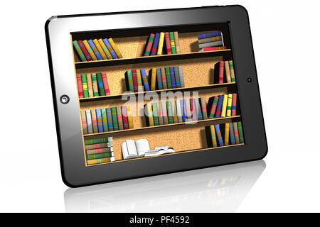 3D illustration. Tablet with inside shelves of books. Ebook. - Stock Photo