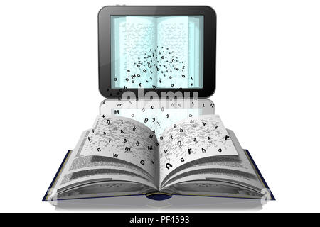 3D illustration. Letters are detached from the book pages to go in tablet, e-book - Stock Photo