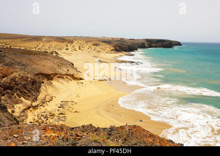 Amazing view of Lanzarote beaches and sand dunes in Playas de Papagayo, Costa del Rubicon, Canary Islands - Stock Photo