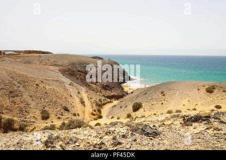 Beautiful panoramic view of Lanzarote sand dunes with beach in Playas de Papagayo, Costa del Rubicon, Canary Islands - Stock Photo