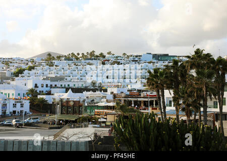 LANZAROTE, SPAIN - APRIL 20, 2018: Puerto del Carmen holiday town, Lanzarote, Canary Islands, Spain - Stock Photo