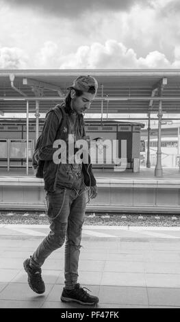 Berlin, Germany, 1st September 2017, Commuter checking his Mobile Phone, S5 Bahn stations, © Peter SPURRIER, - Stock Photo