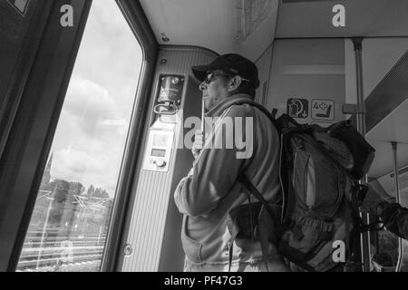 Berlin, Germany, 1st September 2017,  Commuter, Travelling, Deep in Thought,  S5 Bahn,  © Peter SPURRIER. - Stock Photo