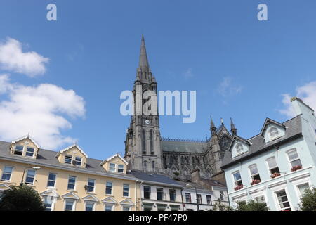 The lovely little town of Cobh, from the main square, with the magnificent centuries old Cathedral as a focal point. - Stock Photo