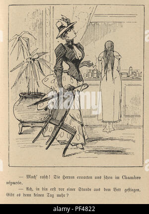 Vintage engraving of a Cartoon of young woman smoking whiel another gets washed, 1880s, German - Stock Photo
