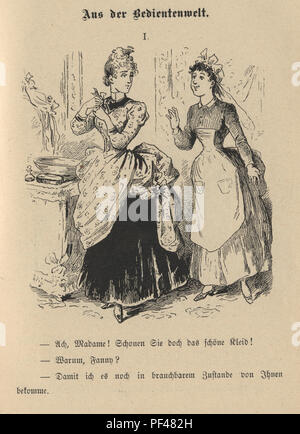 Vintage engraving of a Cartoon of a young woman and her maid, 1880s, German - Stock Photo