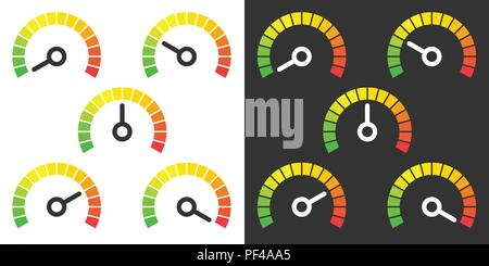 Meter signs infographic gauge element from green to red vector illustration - Stock Photo