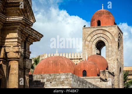 Italy, Sicily, Palermo, San Giovanni degli Eremiti exterior - Stock Photo