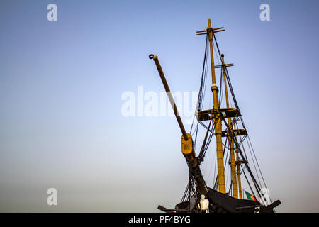 Portuguese frigate ship against blue sky - Stock Photo