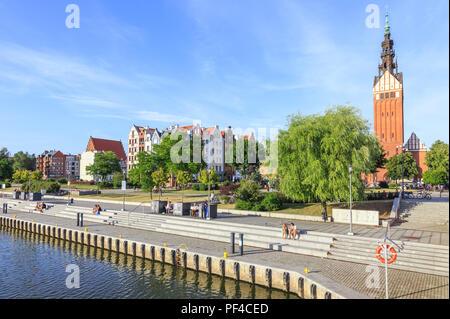 Elblag in polish Pomerania. Riverside boulevards on Elblag River - Stock Photo