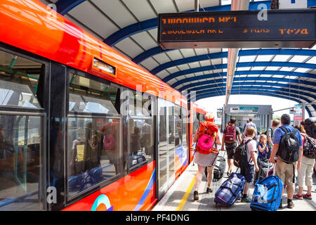 London City Airport DLR station, Silvertown, London Borough of Newham, Greater London, England, United Kingdom - Stock Photo