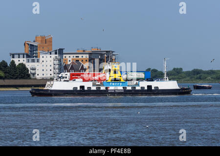 Woolwich Ferry on the River Thames, London, England, United Kingdom, UK - Stock Photo