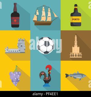 Port life icons set, flat style - Stock Photo