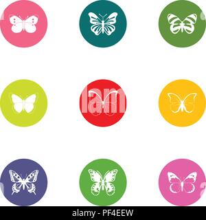 Bat icons set, flat style - Stock Photo