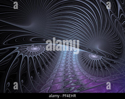 An abstract computer generated modern fractal design on dark background. Abstract fractal color texture. Digital art. Abstract Form & Colors. The way  - Stock Photo