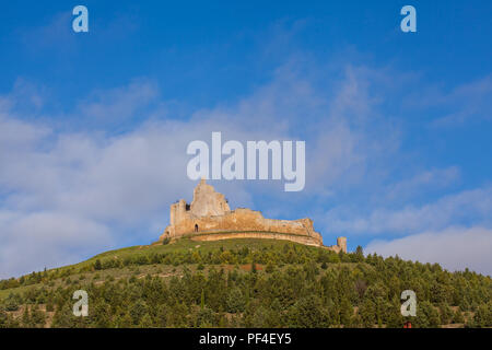 The Templar castle ruins in the Spanish town of Castrojeriz seen from the footpath the Camino de Santiago the way of St James Castille y Leon Spain - Stock Photo