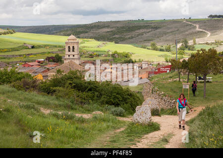 Pilgrim woman walking alone leaving the village of Hontanas while walking on the way of St James the Camino de Santiago Burgos Castille y Leon Spain - Stock Photo