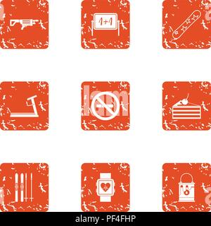 Medical attention icons set, grunge style - Stock Photo