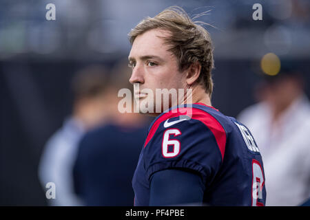 Houston, USA. 18 August 2018. Houston Texans kicker Nick Rose prior to a preseason NFL football game between the Houston Texans and the San Francisco 49ers at NRG Stadium in Houston, TX. Houston won the game 16 to 13. Trask Smith/CSM - Stock Photo