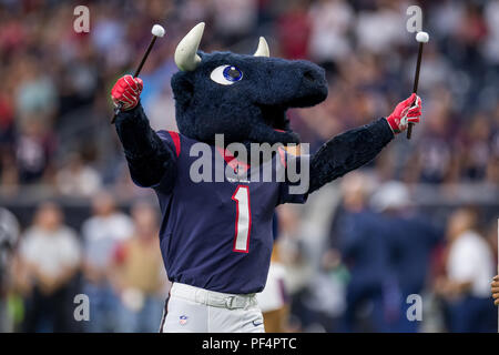 Houston, USA. 18 August 2018. Houston Texans mascot Toro prior to a preseason NFL football game between the Houston Texans and the San Francisco 49ers at NRG Stadium in Houston, TX. Houston won the game 16 to 13. Trask Smith/CSM - Stock Photo