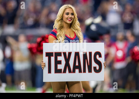Houston, USA. 18 August 2018. A Houston Texans Cheerleader prior to a preseason NFL football game between the Houston Texans and the San Francisco 49ers at NRG Stadium in Houston, TX. Houston won the game 16 to 13. Trask Smith/CSM - Stock Photo