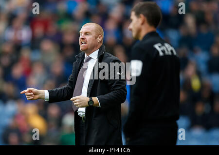 Burnley, UK. 19th Aug, 2018. Editorial use only, license required for commercial use. No use in betting, games or a single club/league/player publications. Burnley Manager Sean Dyche during the Premier League match between Burnley and Watford at Turf Moor on August 19th 2018 in Burnley, England. Credit: PHC Images/Alamy Live News - Stock Photo