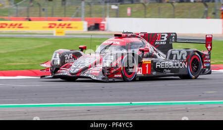 Silverstone Circuit, UK. 19th Aug, 2018. FIA World Endurance Championship; The Rebellion R13 Gibson LMP1 racing car from Rebellion Racing (CHE) driven by Neel Jani (CHE) Andre Lotterer (DEU) and Bruno Senna (BRA) enters the pit straight during Round 3 of the FIA World Endurance Championship at Silverstone Credit: Action Plus Sports/Alamy Live News - Stock Photo
