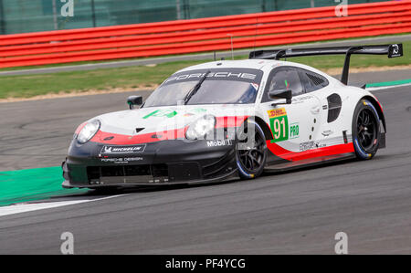 Silverstone Circuit, UK. 19th Aug, 2018. FIA World Endurance Championship; The Porsche 911 RSR LMGTE Pro racing car from Porsche GT Racing Team (DEU) driven by Richard Lietz (AUT) and Gianmaria Bruni (ITA) during Round 3 of the FIA World Endurance Championship at Silverstone Credit: Action Plus Sports/Alamy Live News - Stock Photo