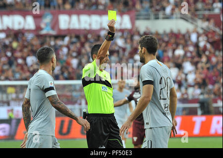 Turin, Italy. 19th August, 2018. Federico Fazio (A.S. Roma) during the Serie A TIM football match between Torino FC and AS Roma at Stadio Grande Torino on 19 August, 2018 in Turin, Italy. Credit: FABIO PETROSINO/Alamy Live News - Stock Photo