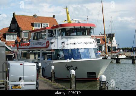Passenger ferry Jan Smit of Marken Express berthed at Volendam, Netherlands - Stock Photo