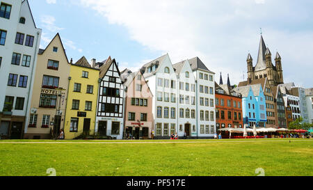 COLOGNE, GERMANY - MAY 31, 2018: photo of facades of houses in the traditional German style on the Rhine waterfront of the city - Stock Photo